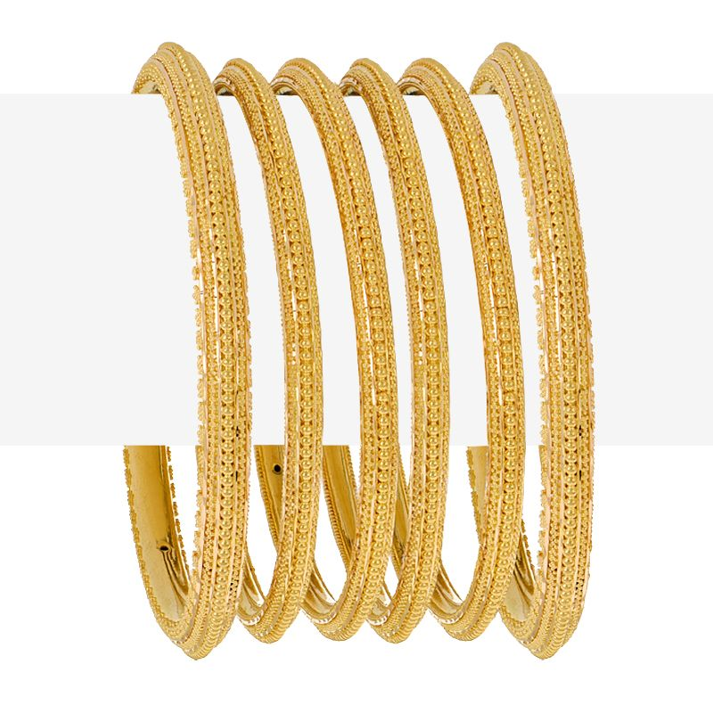 22k Gold Dots Pattern Gold Bangles