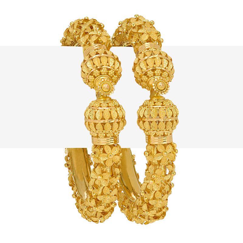 22k Gold Floral Pattern Pipe Bangles