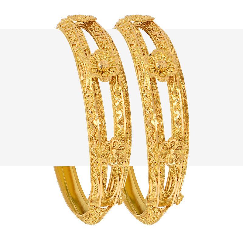 22k Gold Floral Gold Bangles
