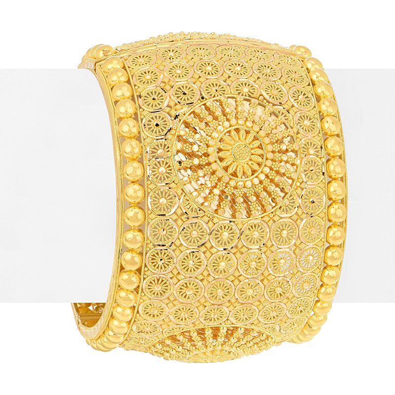 22k Gold Fancy Wide Filigree Bangle