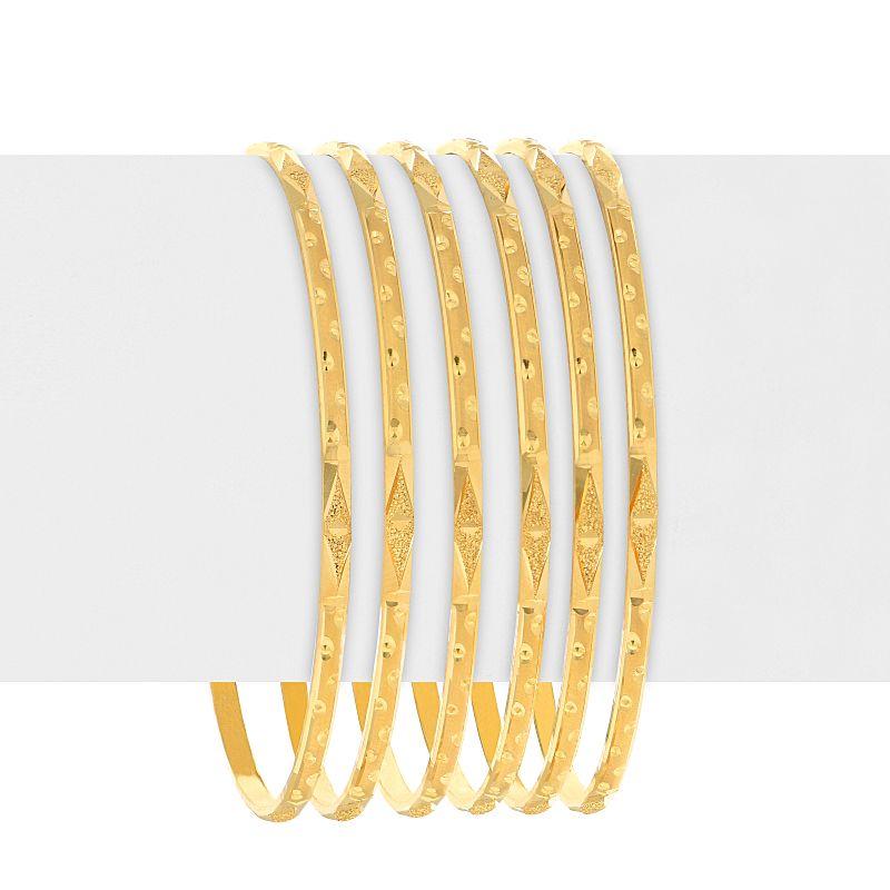 22k Gold Glistening Embossed Bangles - B