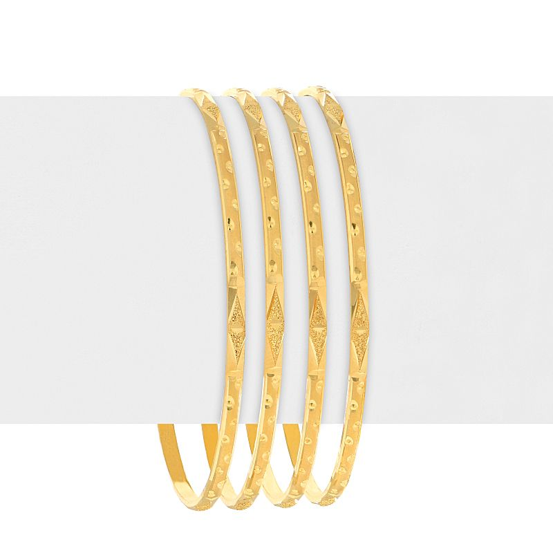 22k Gold Glistening Emboss Bangles - C