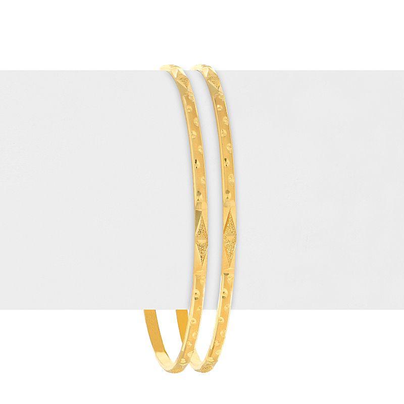 22k Gold Glistening Embossed Bangles