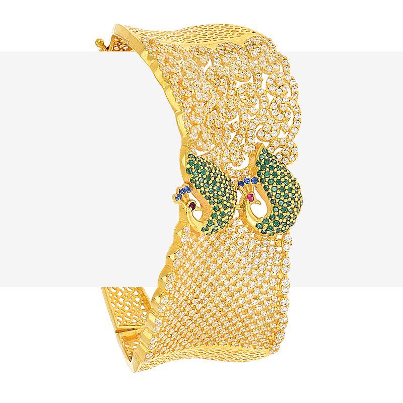22k Gold Designer Peacock Bangle Bracelet
