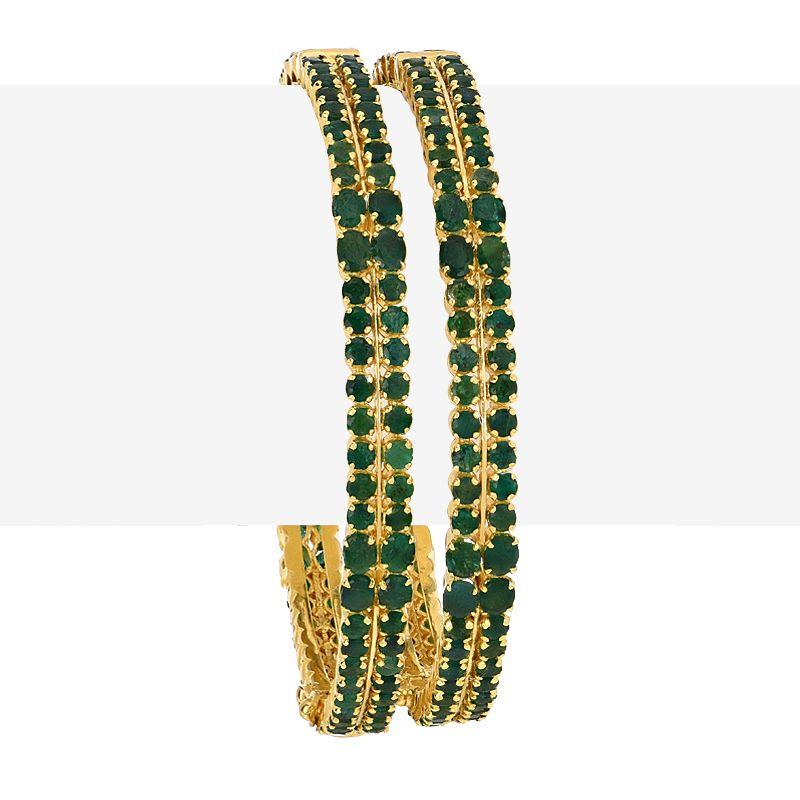 22k Gold Lush Emerald Gemstone Bangles