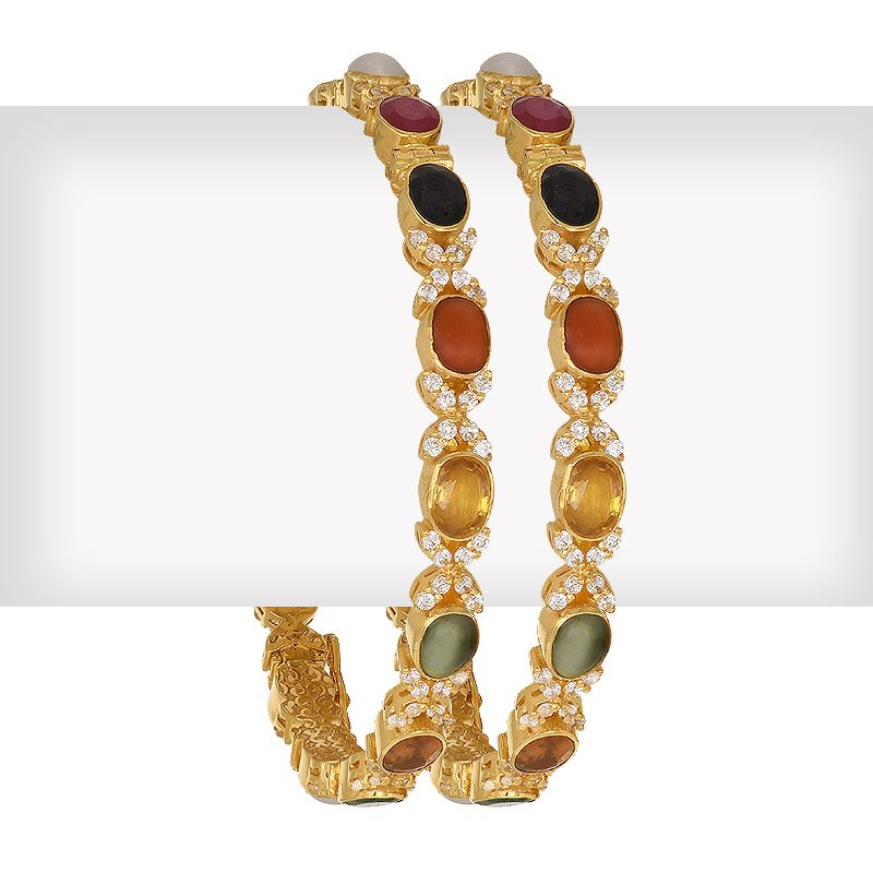 22k Gold Multi Gems Cz Bangles