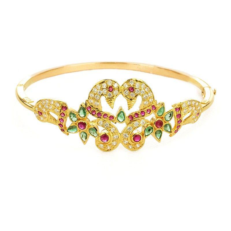 22k Gold Peacock Lovers Bracelet