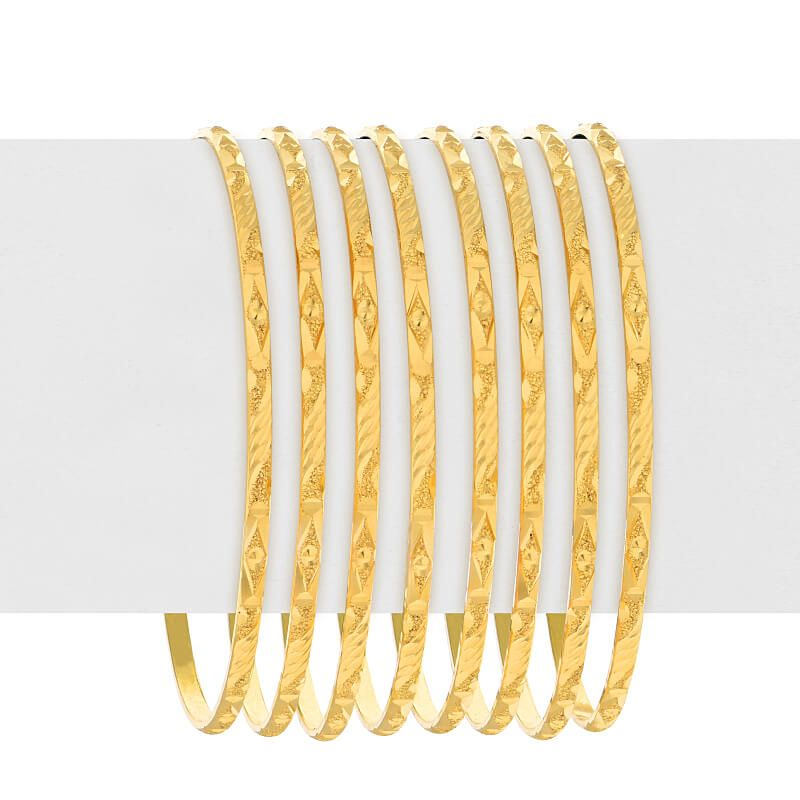 22k Gold Slim Art Deco Bangles