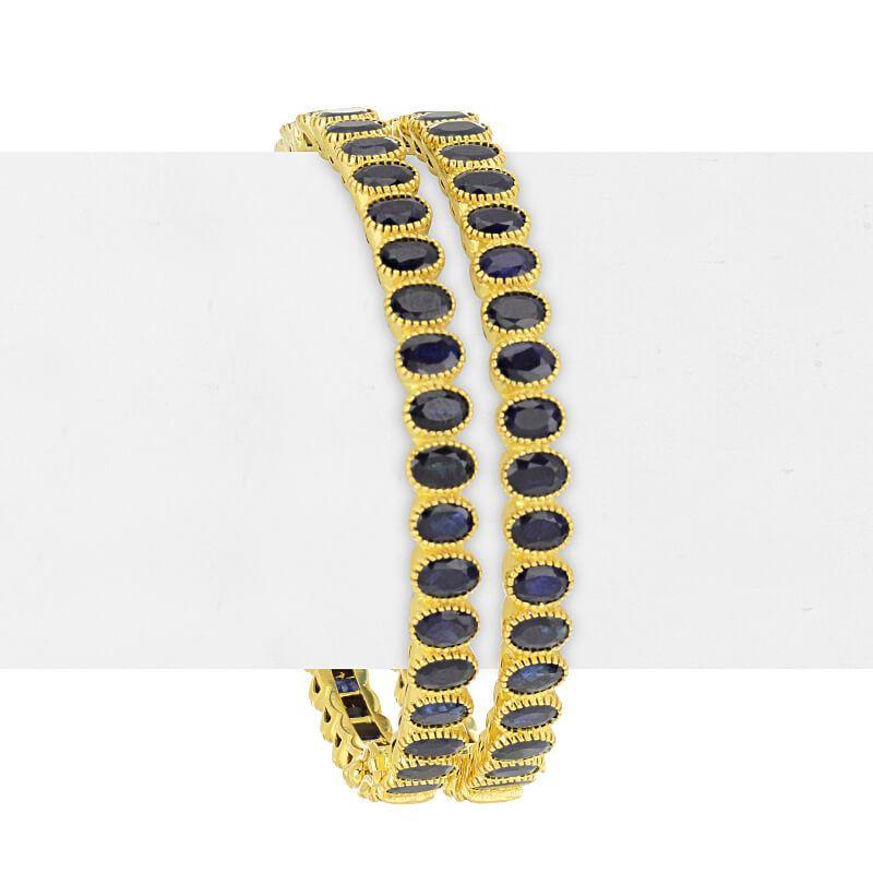 22k Gold Sapphire Designer Gold Bangles