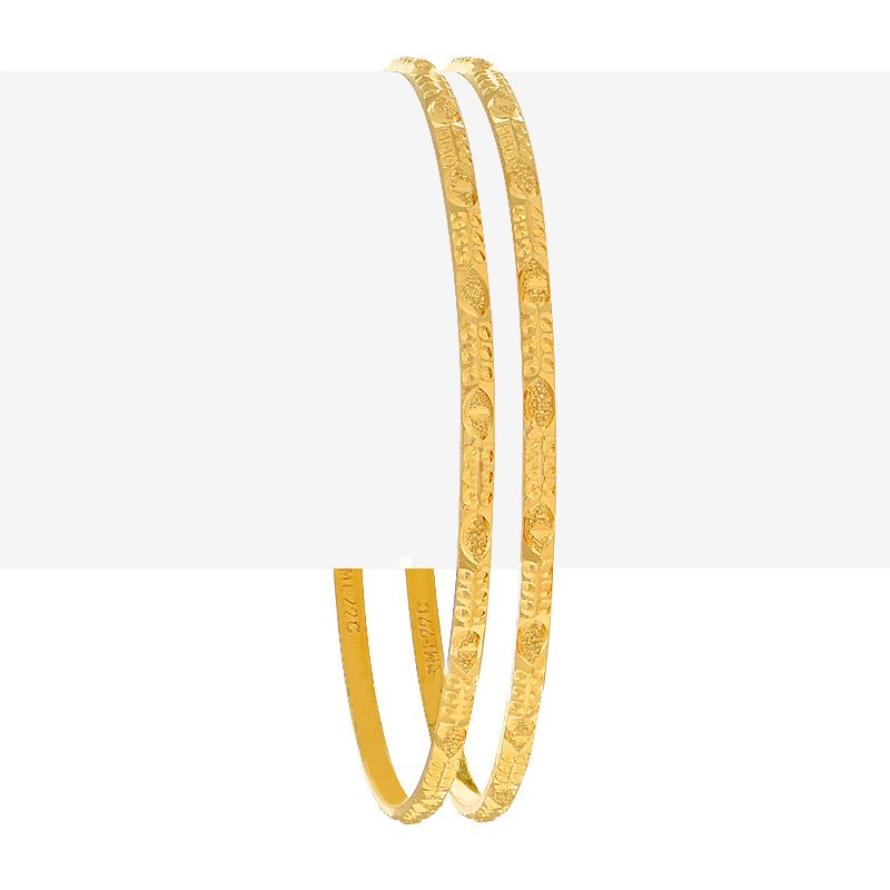 22k Gold Embossed Abstract Bangles Pair