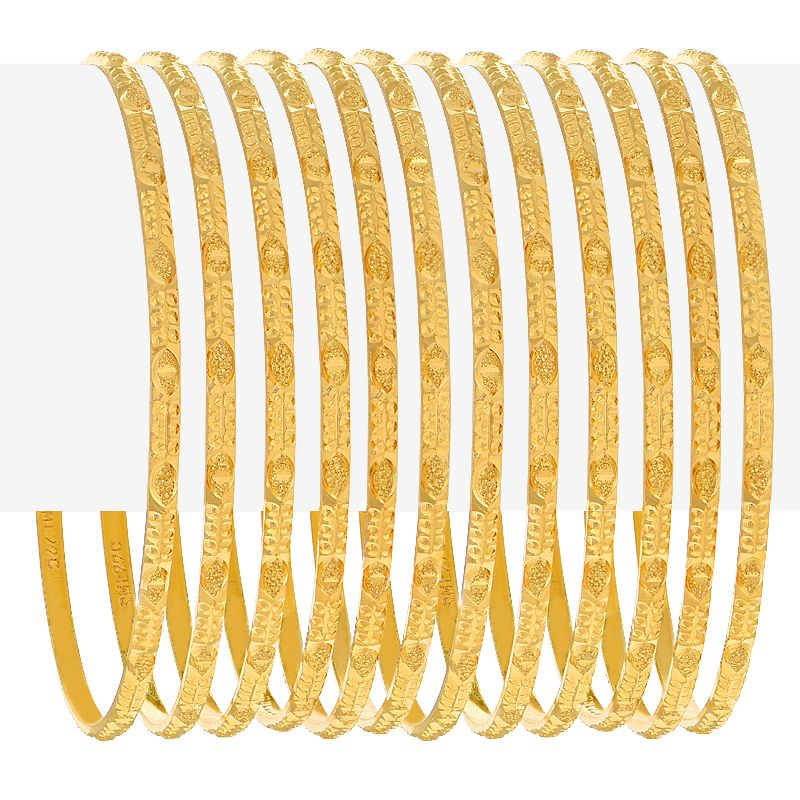 22k Gold Embossed Abstract Bangles