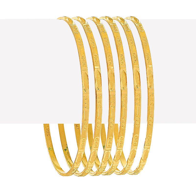 22k Gold Textured Slim Six Bangles