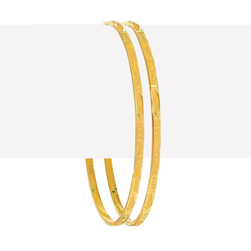 22k Gold Textured Slim Bangles Pair