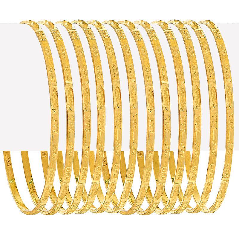 22k Gold Textured Slim Bangles