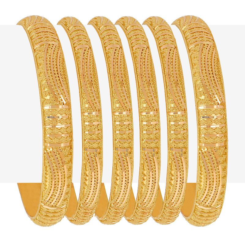 22k Gold Jaali Gold Bangles Set