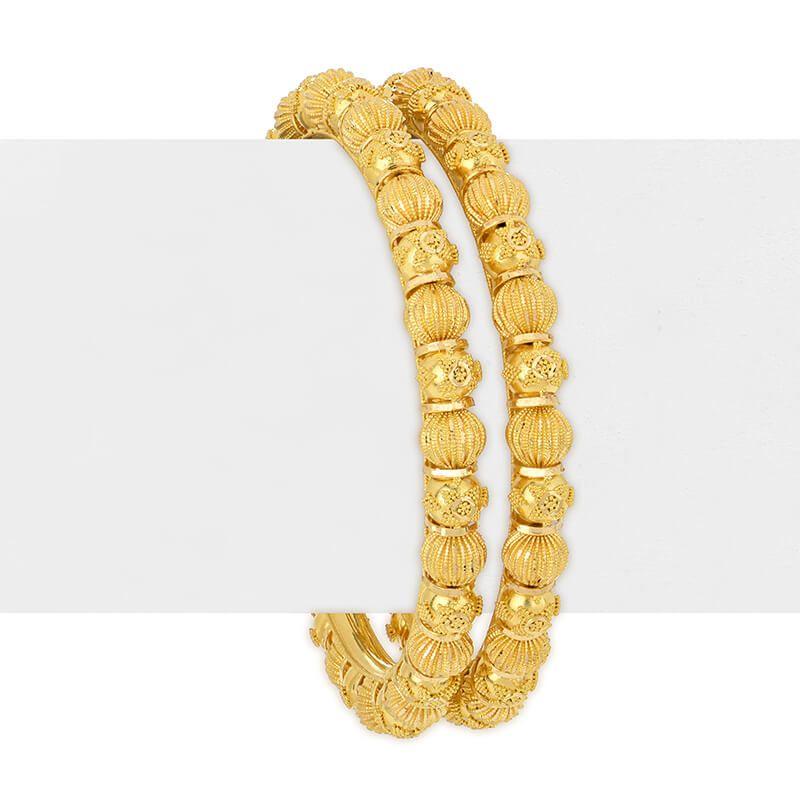 22k Gold Beaded Design Gold Bangles