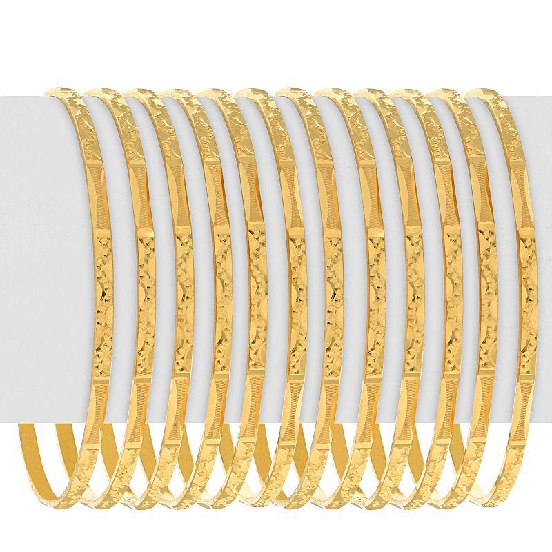 22k Gold Slim Embossed Pattern Bangles