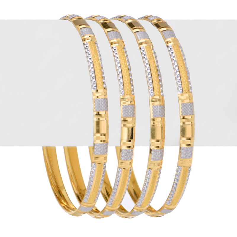 22k Gold Rhodium Checkered Bangles
