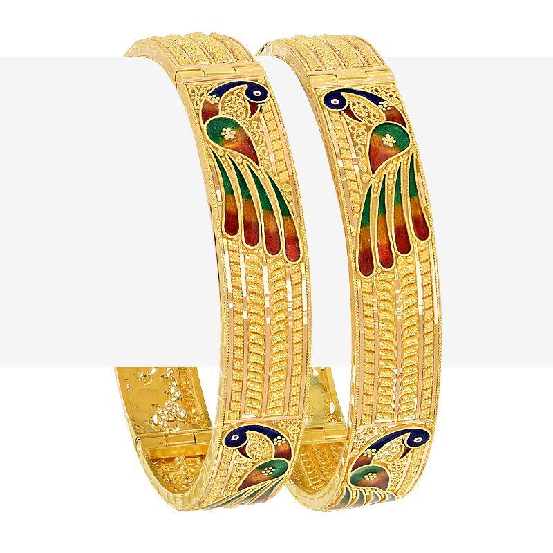 22k Gold Filigree Enamel Peacock Bangles