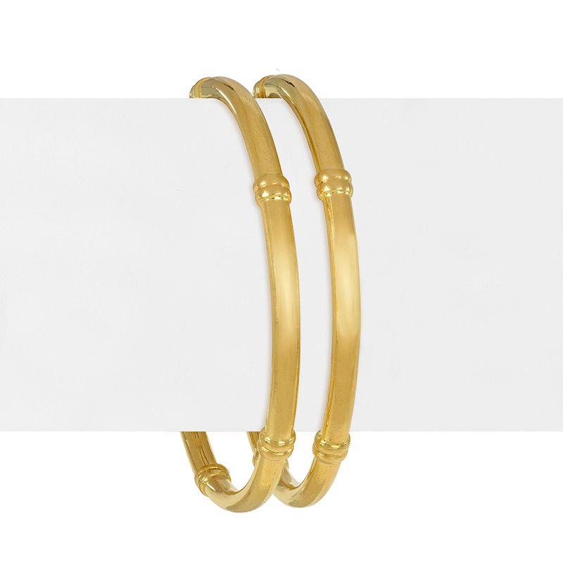 22k Gold Plain Gold Pipe Bangles- 2.8