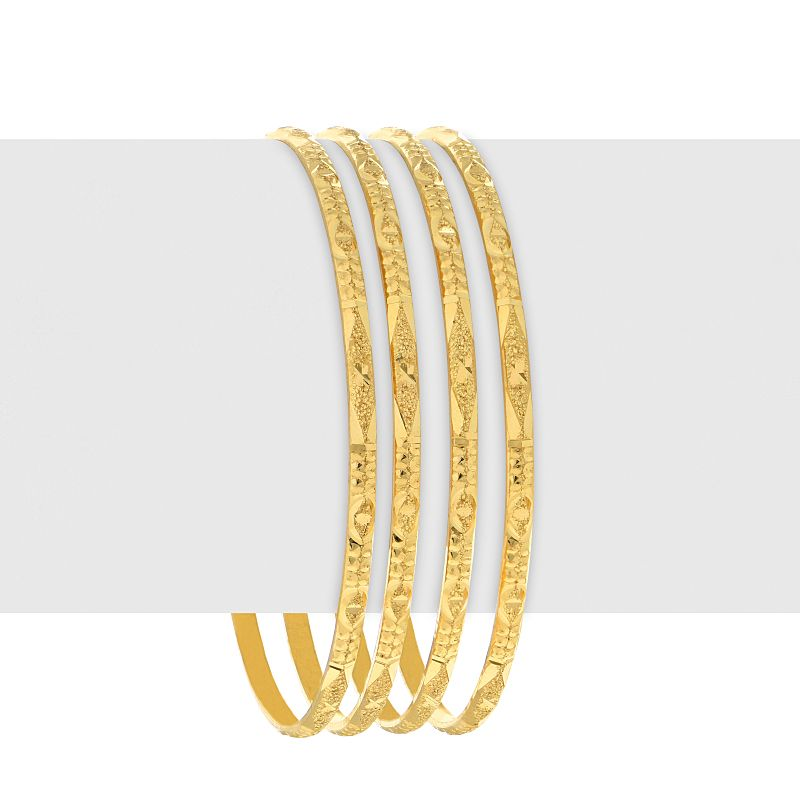 22k Gold Glitzy Textured Bangles - C