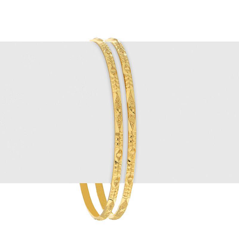 22k Gold Glitzy Textured Bangles - D