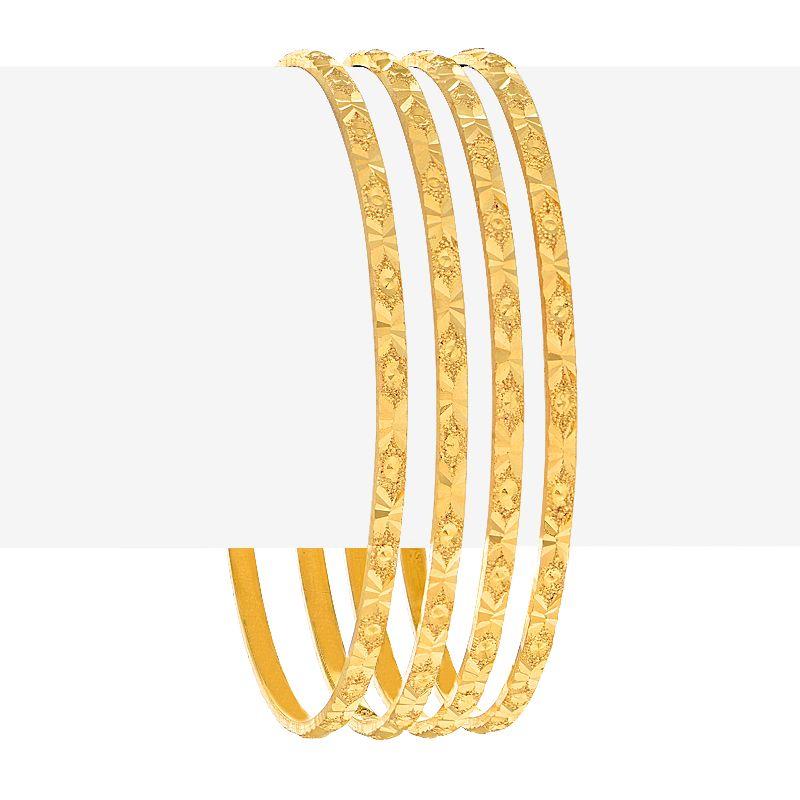 22k Gold Glossy Embossed Gold Bangles