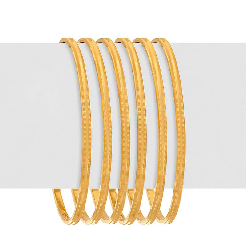 22k Gold Groove Edges Gold Bangles