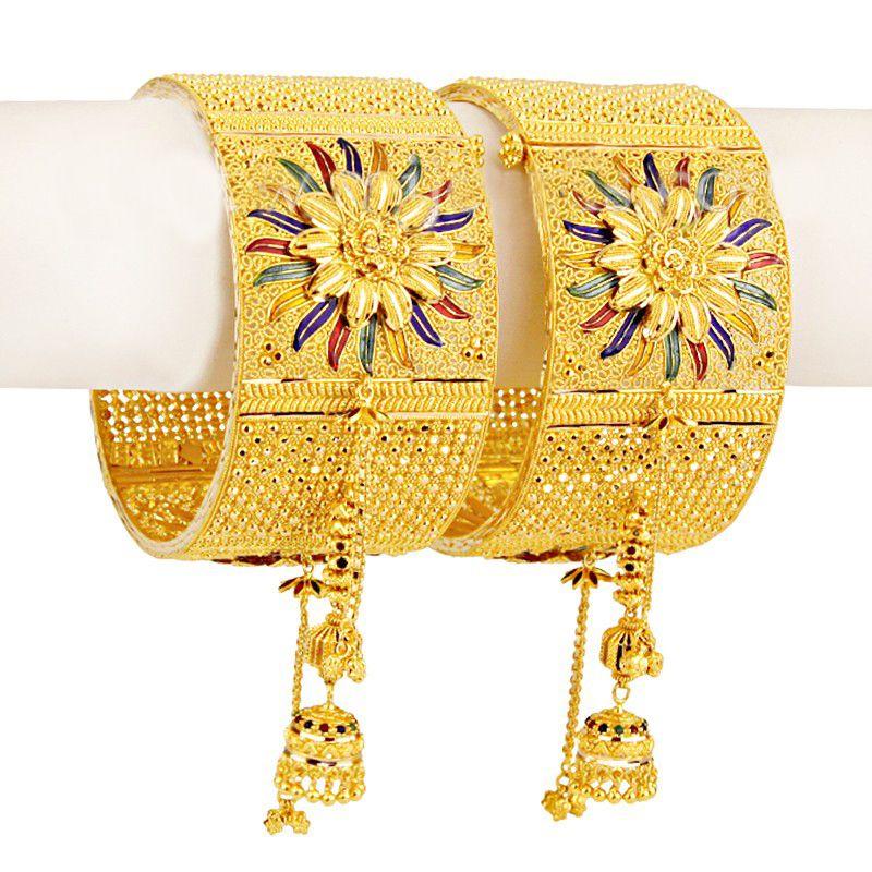 22k Gold Filigree Wide Dangling Bangles