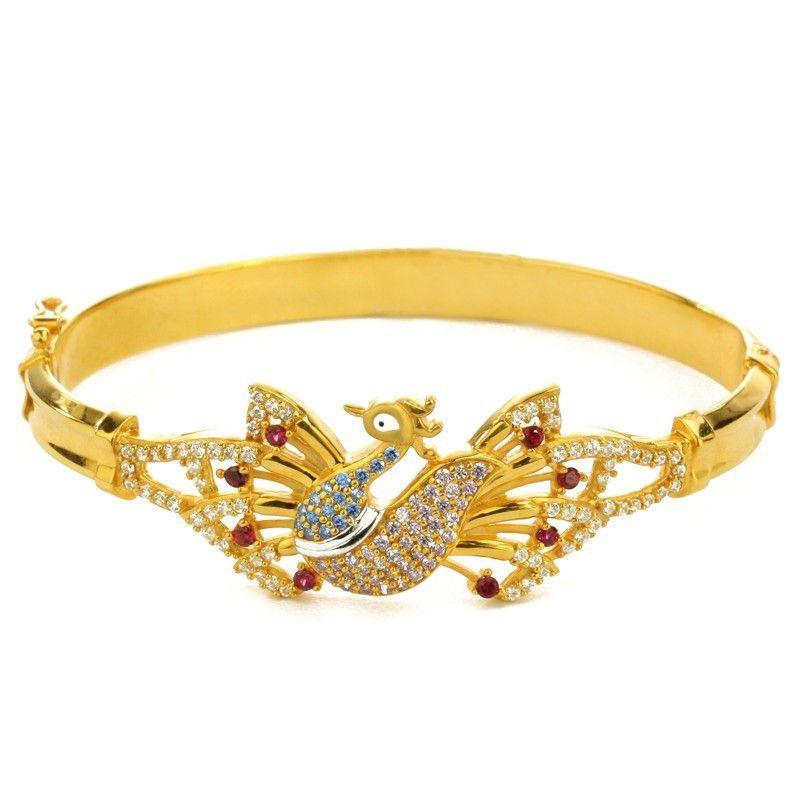 22k Gold Dazzling Peacock Bracelet