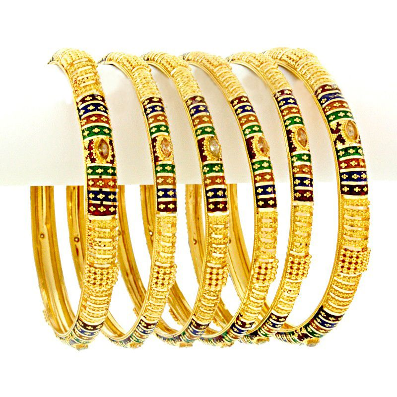 22k Gold Meena Rama Gold Bangles