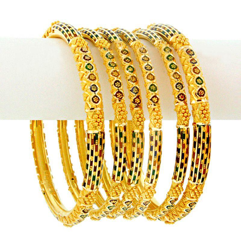 22k Gold Shira Enamel Gold Bangles