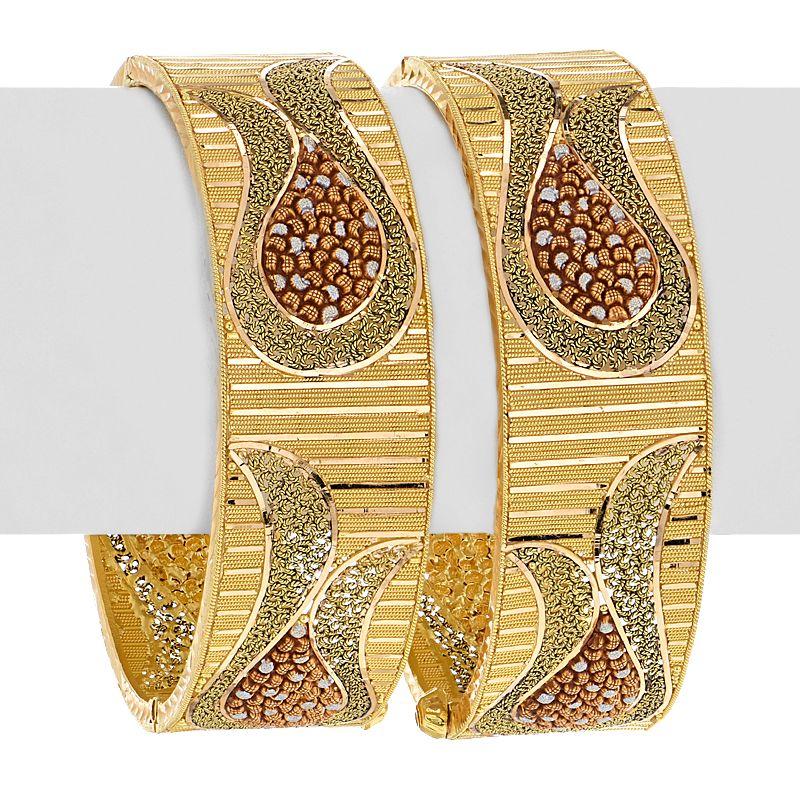 22k Gold Designer Tri-Tone Bangles