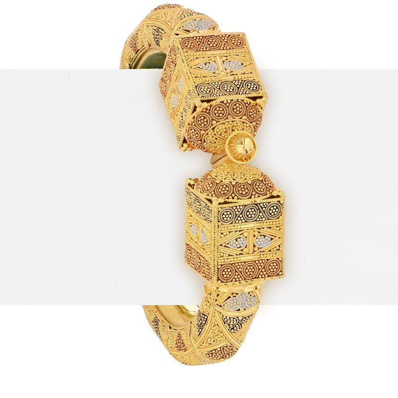 22k Gold Tri-Color Kada Bangle
