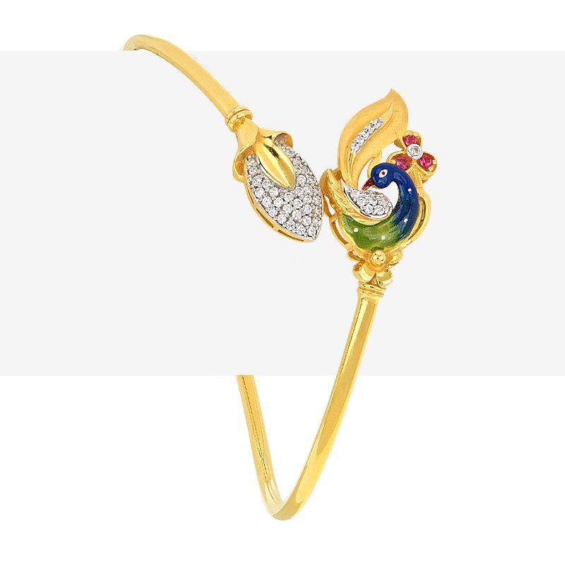 22k Gold Enamel Peacock Wrap Bracelet