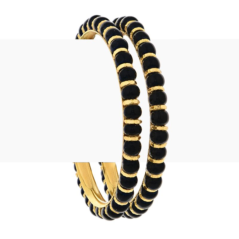 22k Gold Black Beads Baby Bangles