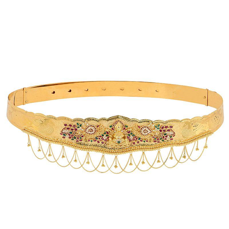 22k Gold Lakshmi Floral Cz Vaddanam