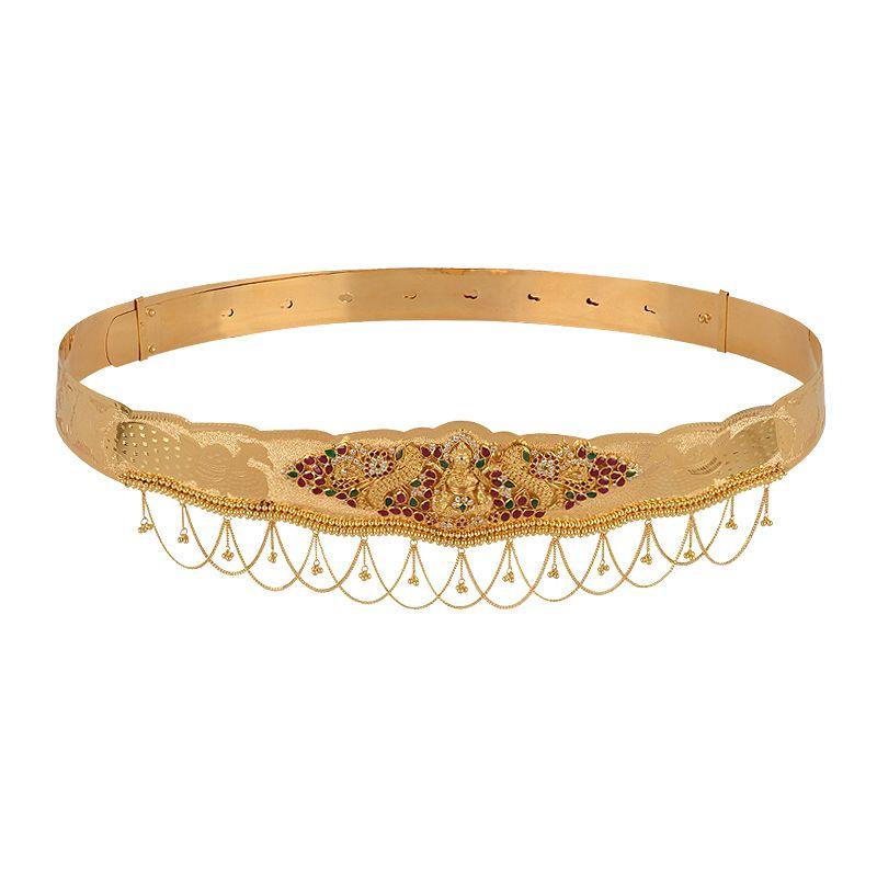 22k Gold  Goddess Lakshmi Gems Vaddanam