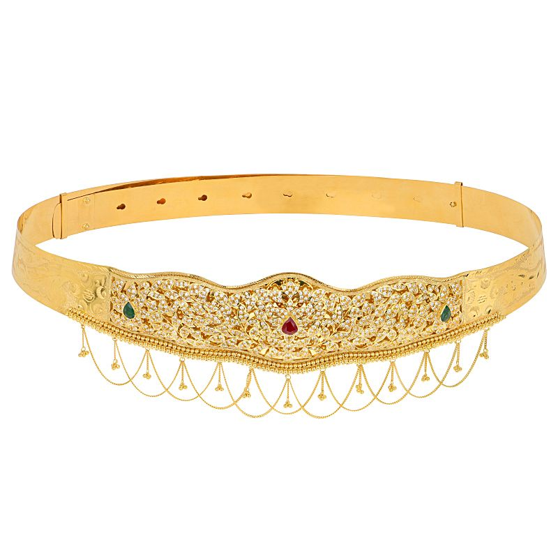 22k Gold Luxurious Gemstones Vaddanam