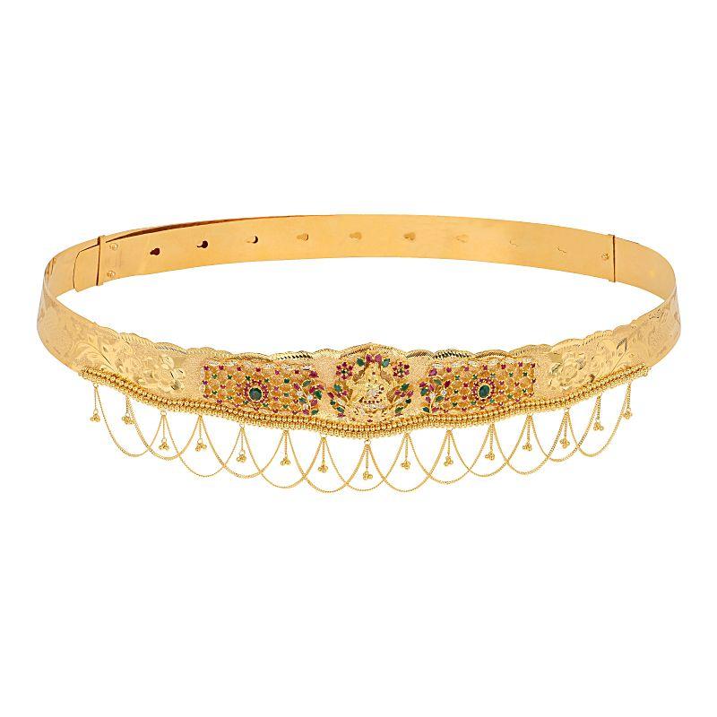 22k Gold Goddess Laxmi Gems Vaddanam