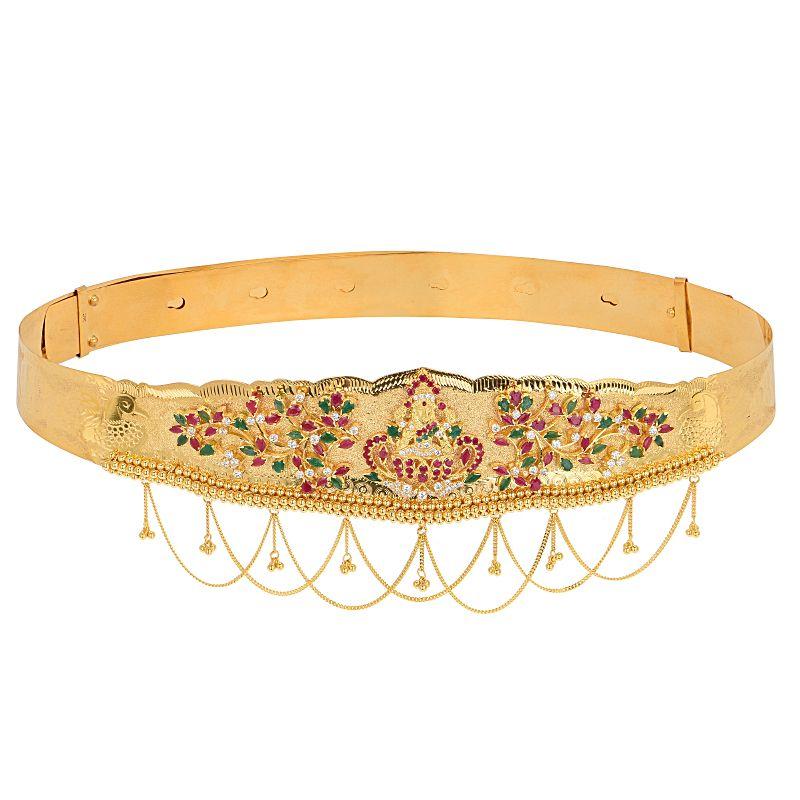 22k Gold Lakshmi Floral Gems Vaddanam