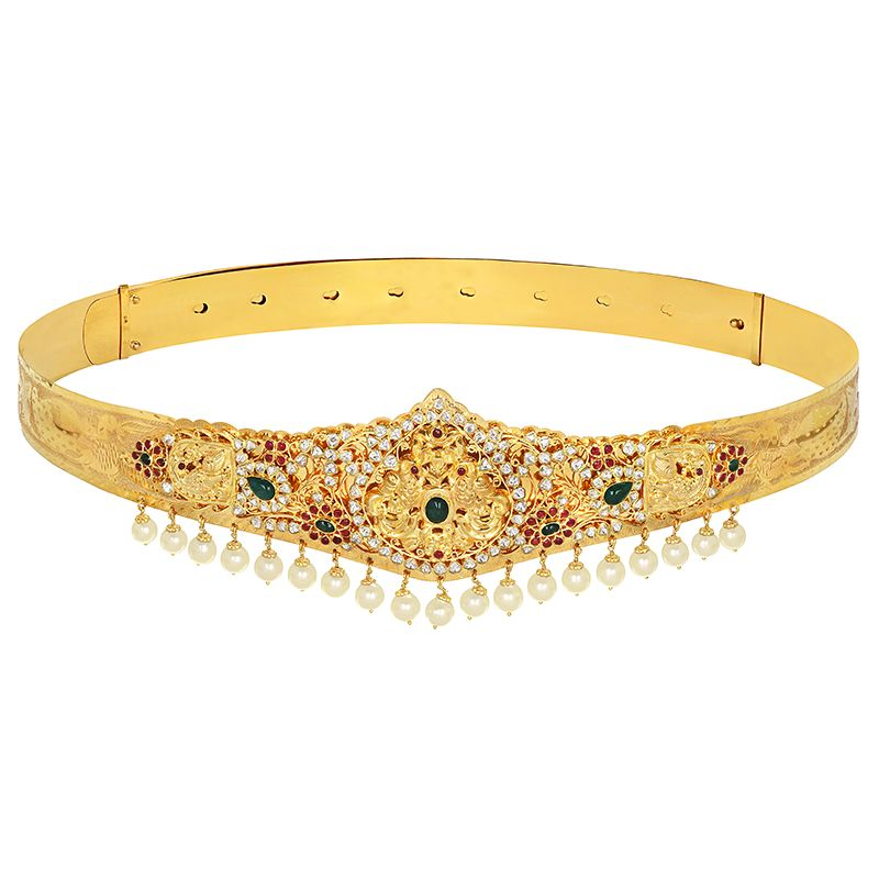 22k Gold Gemstone Pearls Peacock Vaddanam