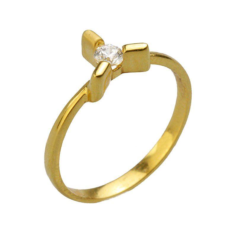 22k Gold Single Cz stone ring