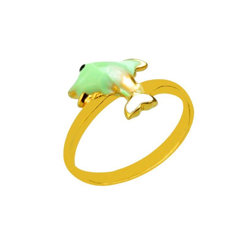 22k Gold Green Dolphin Ring