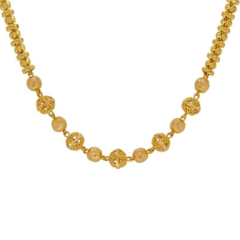 22k Gold Multi Beads Ball Chain