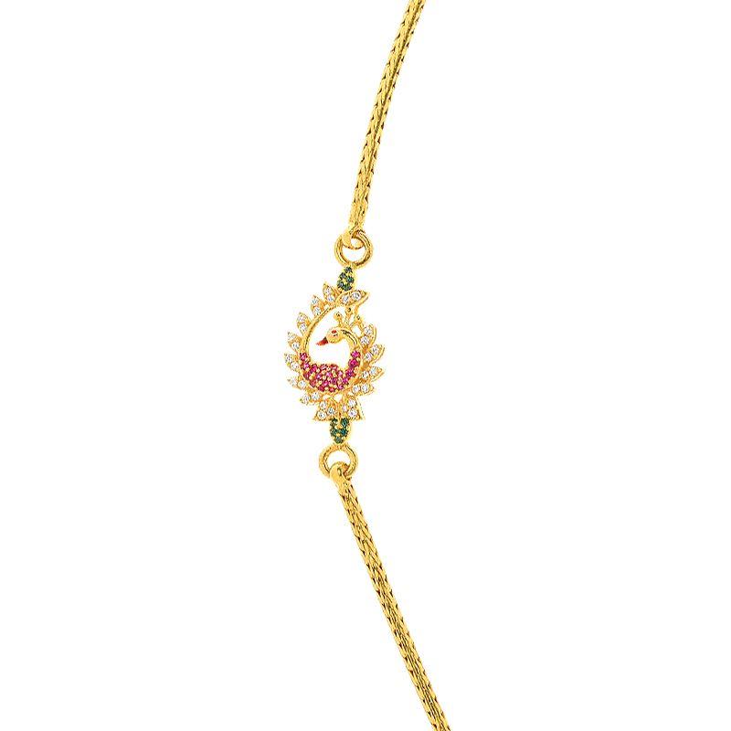 22k Gold CZ Peacock Mugappu Chain
