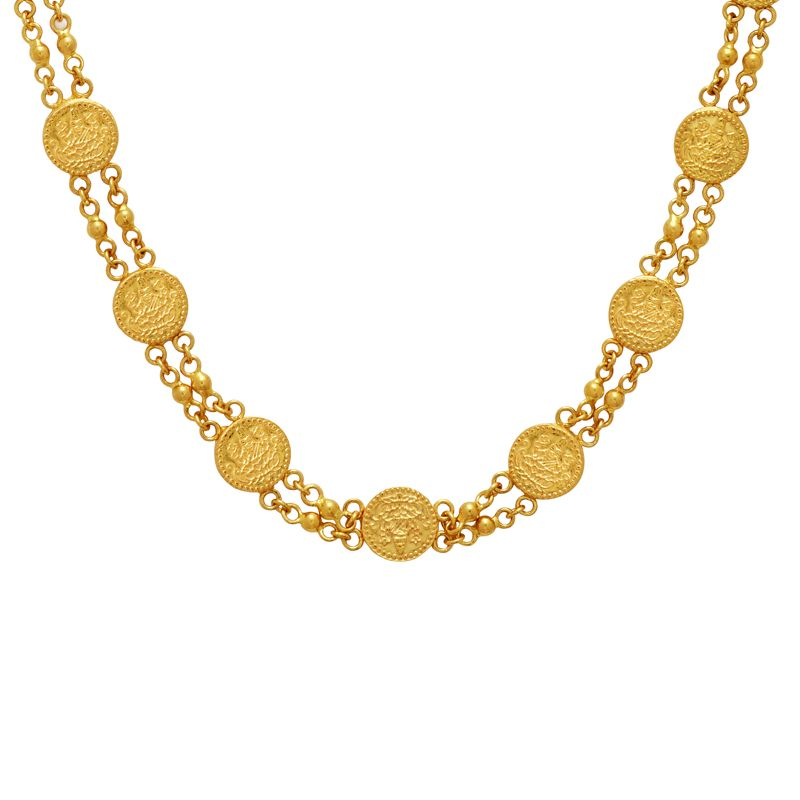 22k Gold Long Coin Chain Necklace