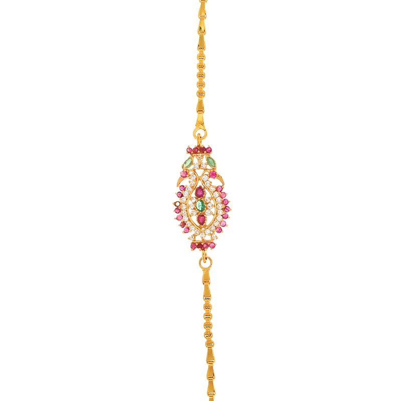 22k Gold Shimmering Peacock Mugappu Chain