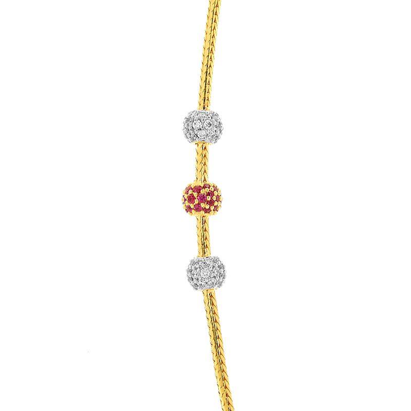 22k Gold CZ Balls Mugappu Chain