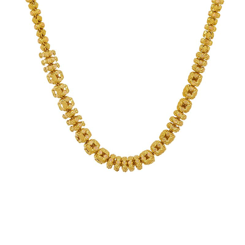 22k Gold Beaded Mesh Chain Necklace